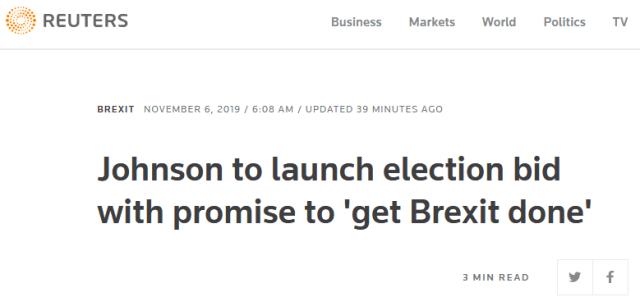 """据英媒11月6日报道,英国首相鲍里斯约翰逊当天将正式宣布在12月12日举行选举,呼吁选民支持他,还承诺""""在未来几周内完成脱欧""""。在解散议会并于11月6日正式拜访女王伊丽莎白二世之后,约翰逊将返回唐宁街官邸正式宣布举行大选。当天晚些时候,他还会在一次集会上发起该党的竞选活动。""""我不想举行大选。没有哪位首相希望提前选举,尤其是在12月,"""" 约翰逊说,""""但就目前情况来看,我们别无选择――因为只有在未来几周内完成脱欧,我们才能集中精力解决英国人民所有的当务之急。"""""""